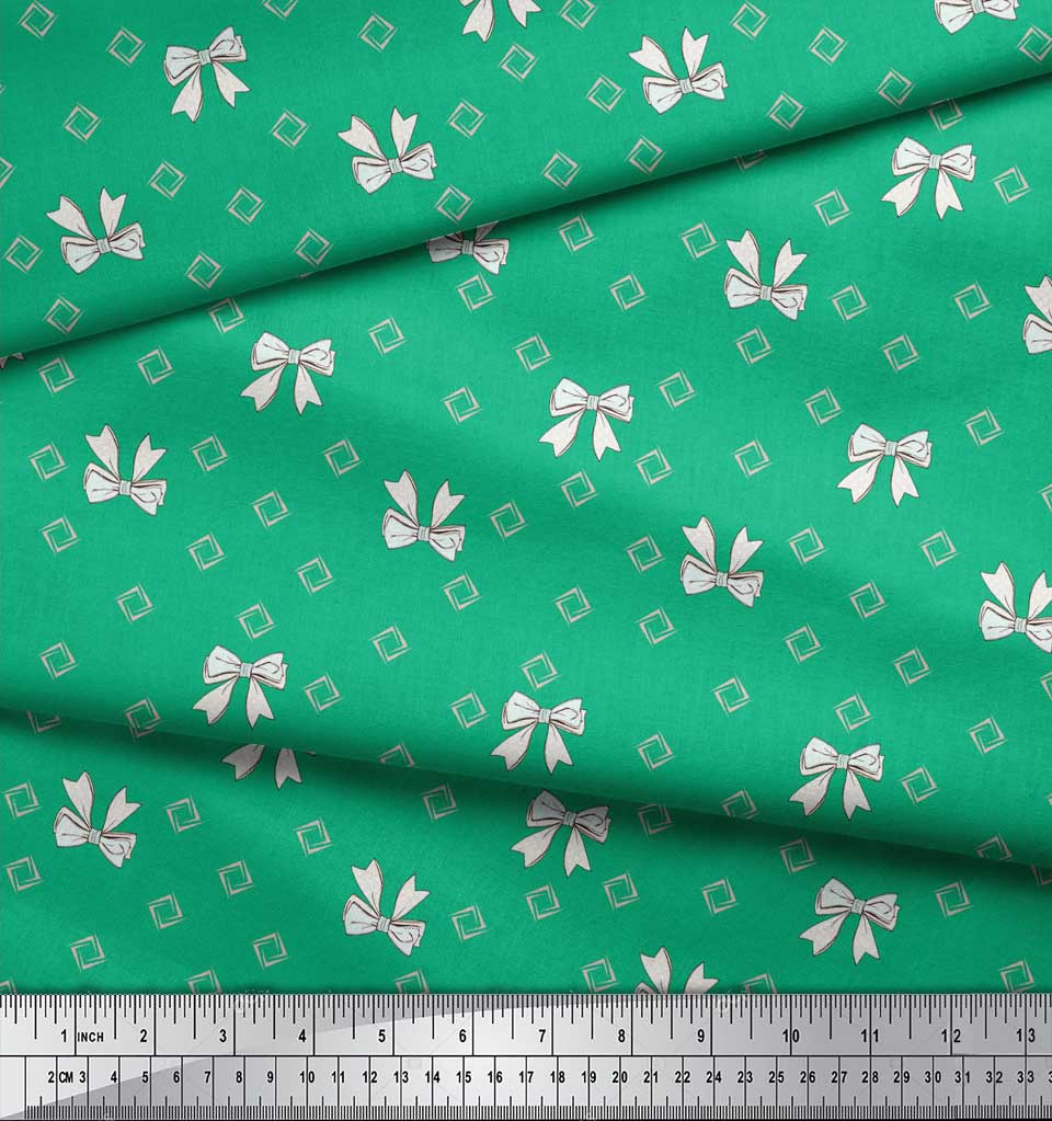 Soimoi-Green-Cotton-Poplin-Fabric-Bow-amp-Diamond-Geometric-Printed-2np thumbnail 4