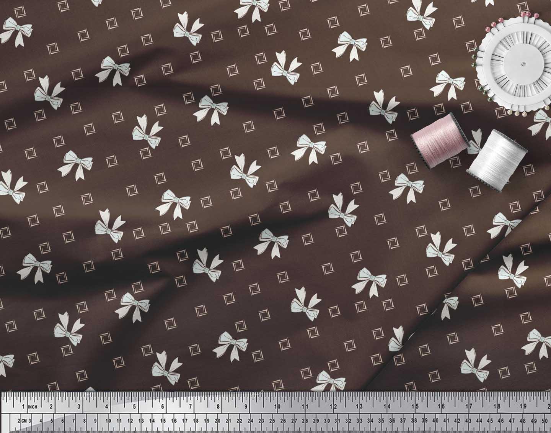 Soimoi-Brown-Cotton-Poplin-Fabric-Bow-amp-Diamond-Geometric-Print-Bgq thumbnail 3