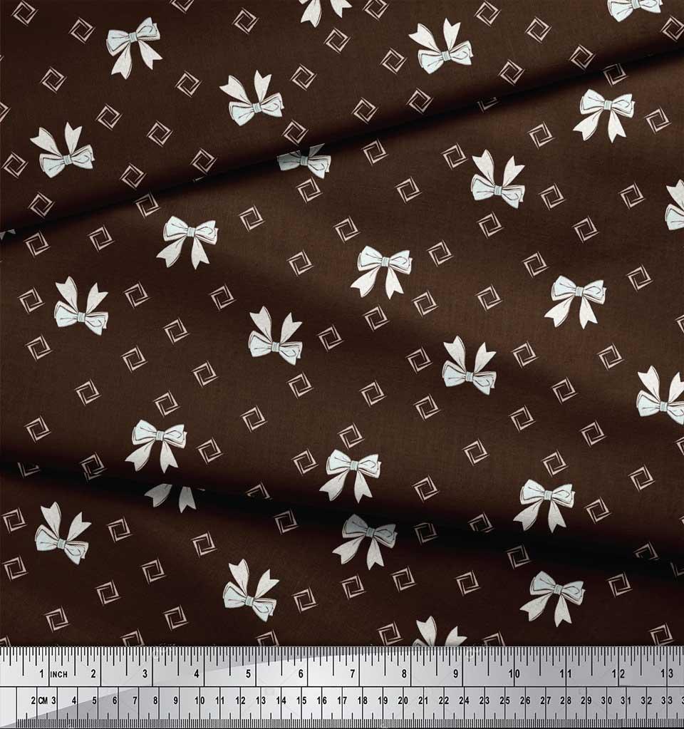 Soimoi-Brown-Cotton-Poplin-Fabric-Bow-amp-Diamond-Geometric-Print-Bgq thumbnail 4