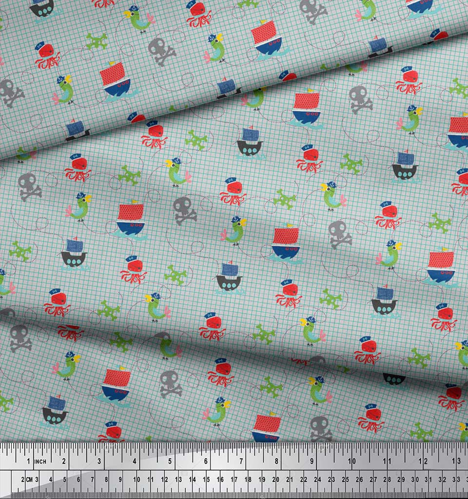 Soimoi-Gray-Cotton-Poplin-Fabric-Octopus-amp-Sailboat-Geometric-Print-Sys thumbnail 4