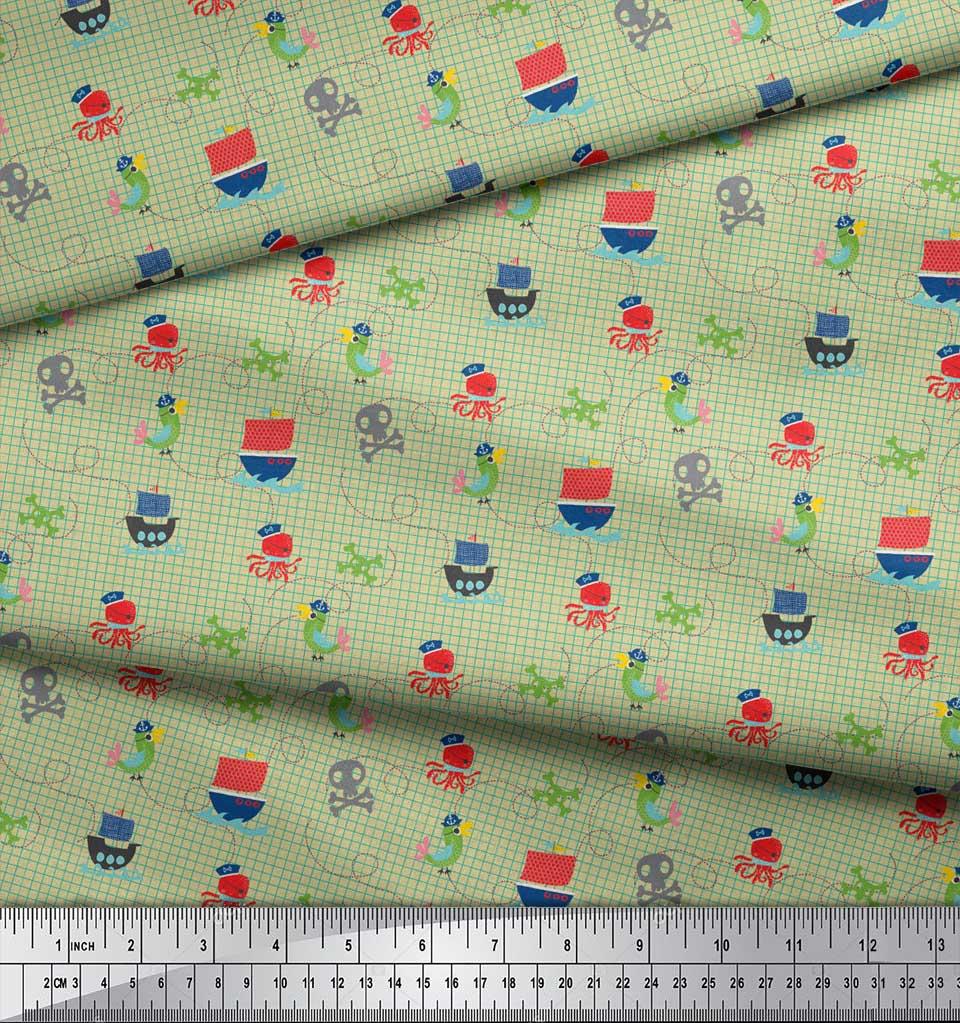 Soimoi-Beige-Cotton-Poplin-Fabric-Octopus-amp-Sailboat-Geometric-Print-lh9 thumbnail 3