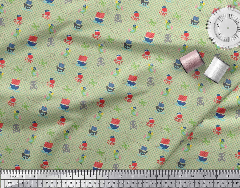 Soimoi-Beige-Cotton-Poplin-Fabric-Octopus-amp-Sailboat-Geometric-Print-lh9 thumbnail 4