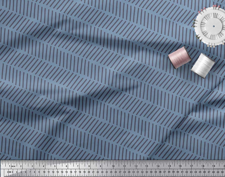 Soimoi-Blue-Cotton-Poplin-Fabric-Line-Geometric-Printed-Craft-Fabric-xMZ thumbnail 3