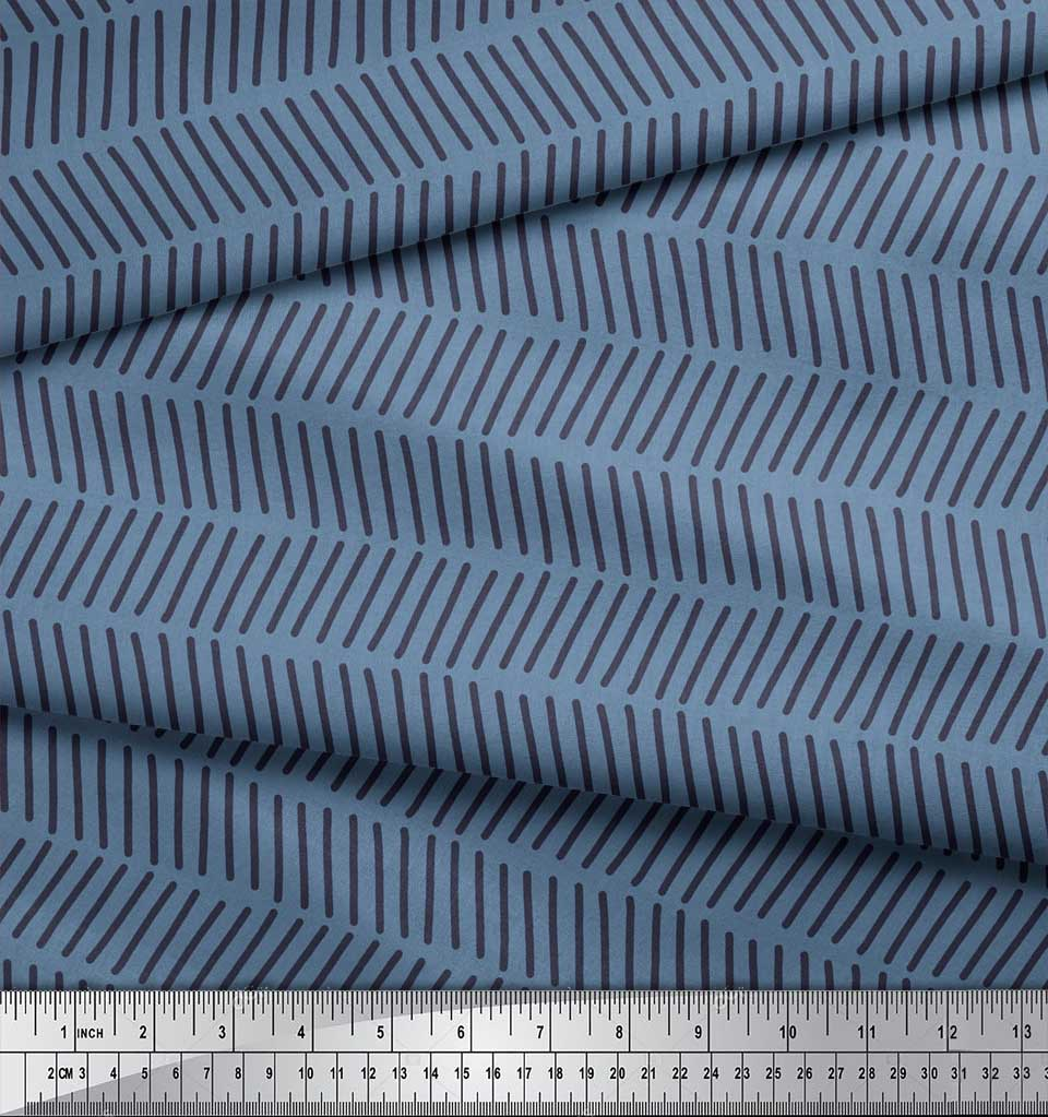 Soimoi-Blue-Cotton-Poplin-Fabric-Line-Geometric-Printed-Craft-Fabric-xMZ thumbnail 4