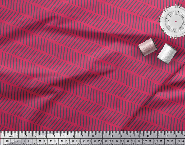 Soimoi-Pink-Cotton-Poplin-Fabric-Line-Geometric-Printed-Fabric-1-cp5 thumbnail 3