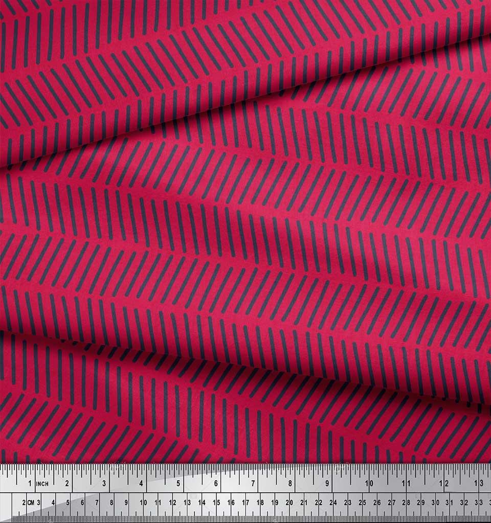 Soimoi-Pink-Cotton-Poplin-Fabric-Line-Geometric-Printed-Fabric-1-cp5 thumbnail 4