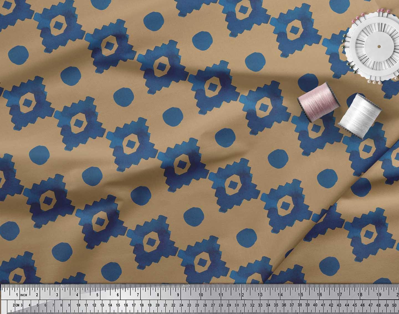 Soimoi-Brown-Cotton-Poplin-Fabric-Aztec-Geometric-Printed-Fabric-yLW thumbnail 4