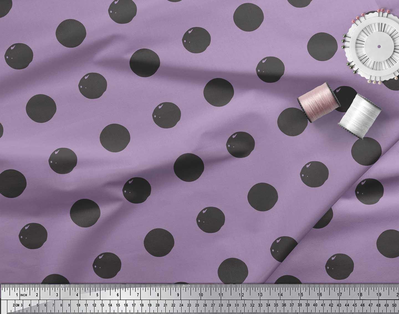Soimoi-Purple-Cotton-Poplin-Fabric-Circle-Geometric-Print-Fabric-T0E thumbnail 3
