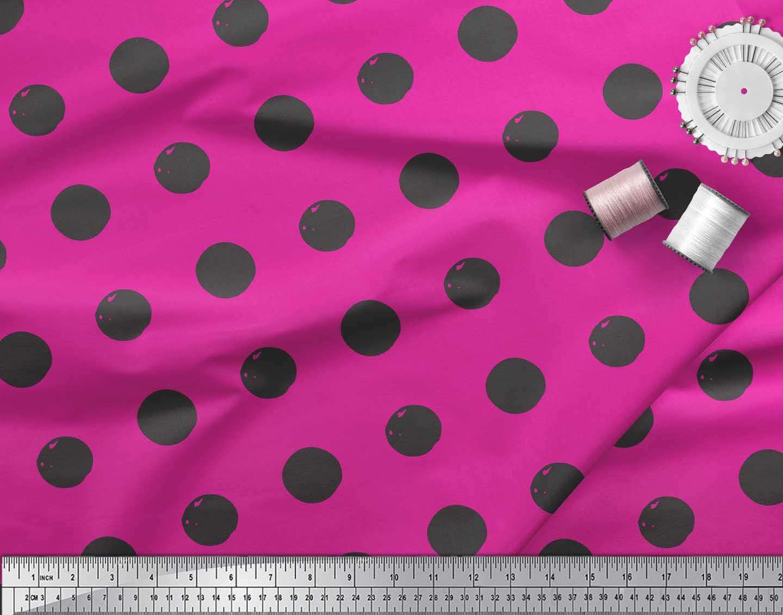 Soimoi-Pink-Cotton-Poplin-Fabric-Circle-Geometric-Print-Fabric-by-rCc thumbnail 3