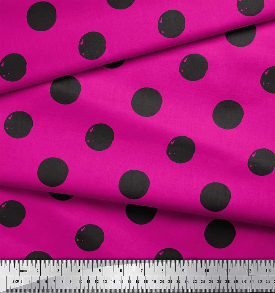 Soimoi-Pink-Cotton-Poplin-Fabric-Circle-Geometric-Print-Fabric-by-rCc thumbnail 4