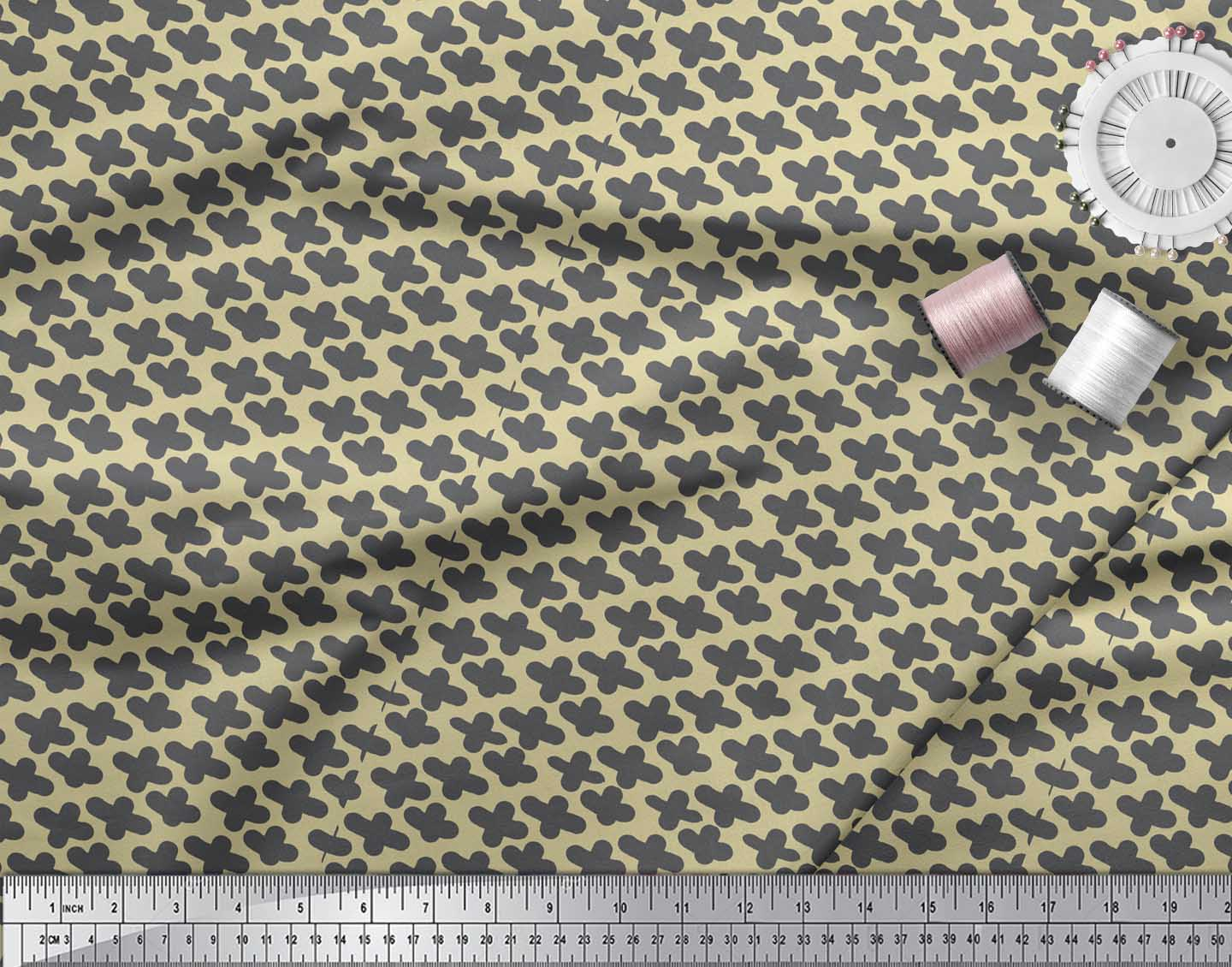 Soimoi-Beige-Cotton-Poplin-Fabric-Plus-Sign-Geometric-Decor-Fabric-2xU thumbnail 3