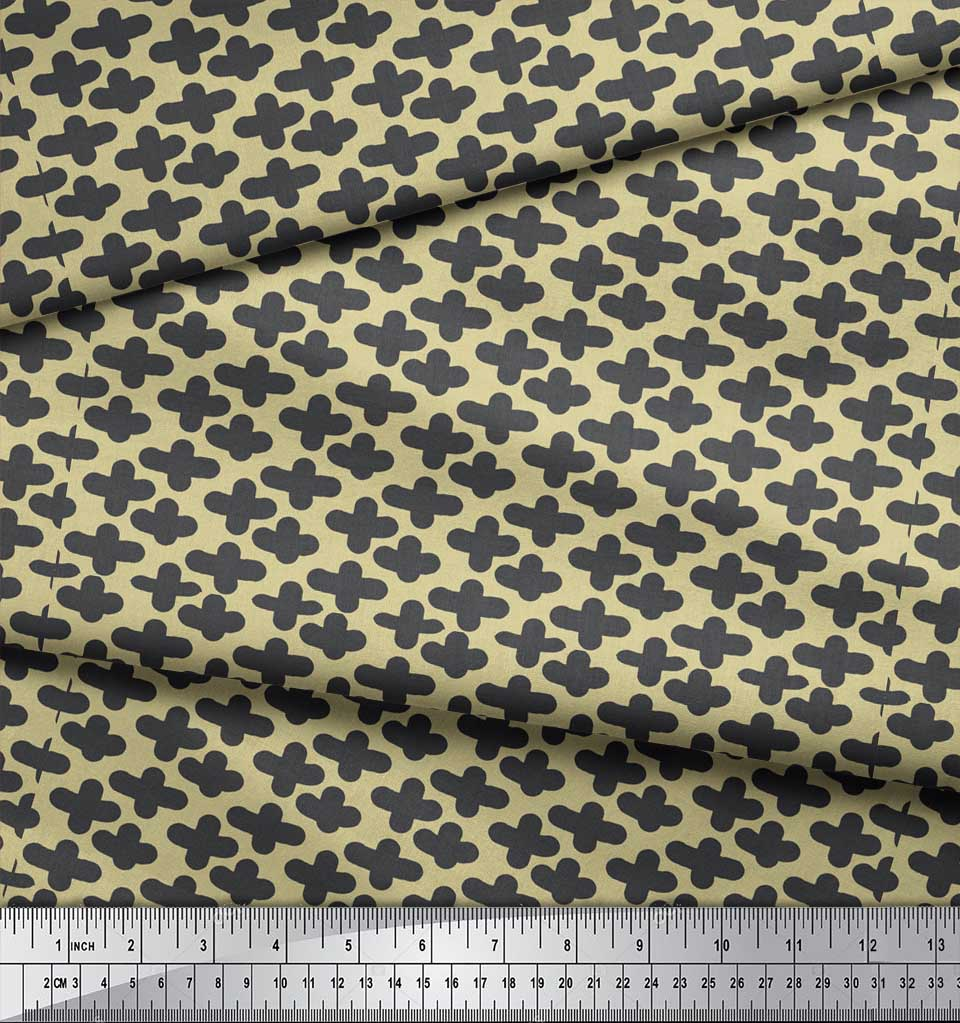 Soimoi-Beige-Cotton-Poplin-Fabric-Plus-Sign-Geometric-Decor-Fabric-2xU thumbnail 4