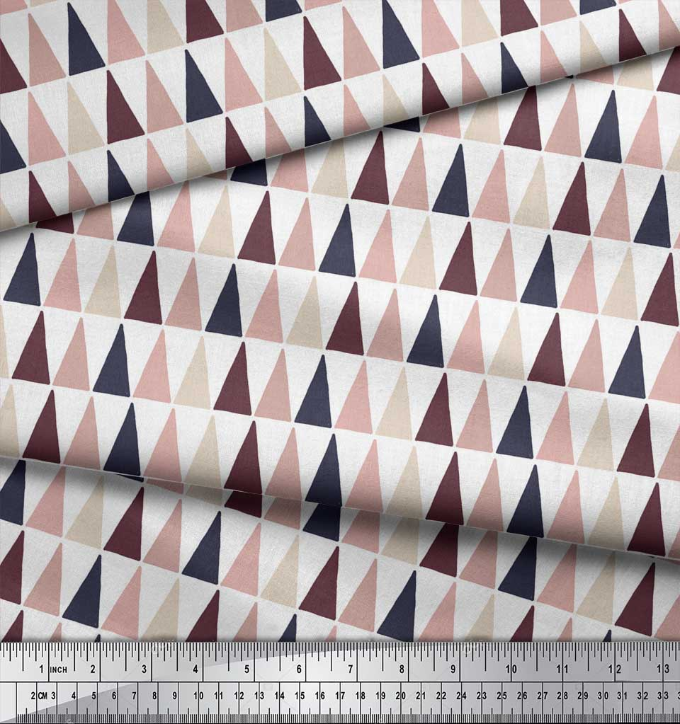 Soimoi-White-Cotton-Poplin-Fabric-Triangle-Geometric-Print-Fabric-cHo thumbnail 3