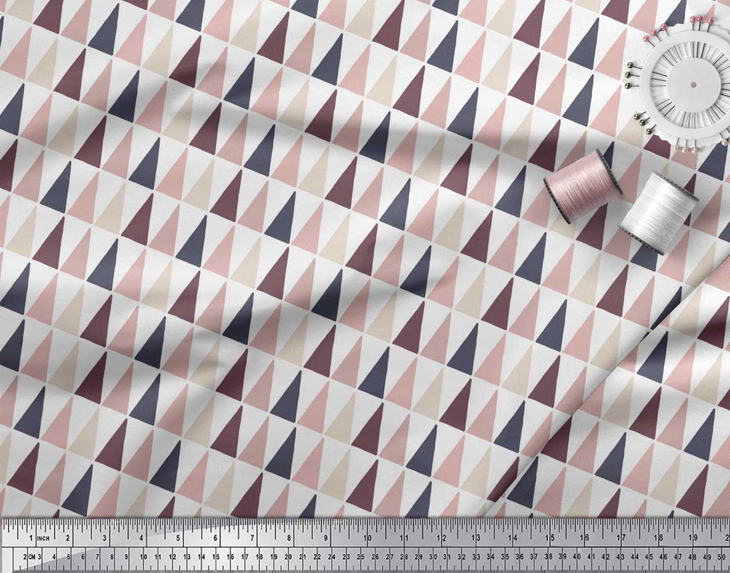 Soimoi-White-Cotton-Poplin-Fabric-Triangle-Geometric-Print-Fabric-cHo thumbnail 4