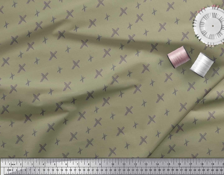 Soimoi-Green-Cotton-Poplin-Fabric-Cross-amp-Geometric-Printed-Fabric-fVM thumbnail 3