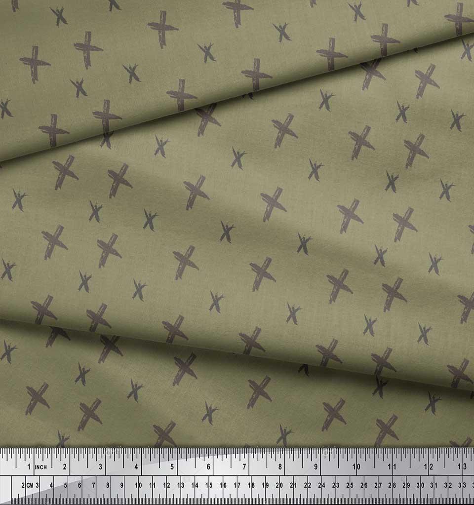 Soimoi-Green-Cotton-Poplin-Fabric-Cross-amp-Geometric-Printed-Fabric-fVM thumbnail 4