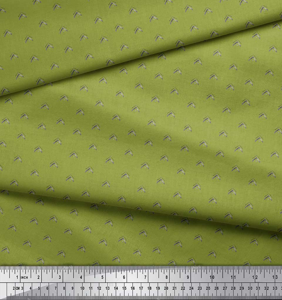 Soimoi-Green-Cotton-Poplin-Fabric-Artistic-Geometric-Print-Fabric-biV thumbnail 4