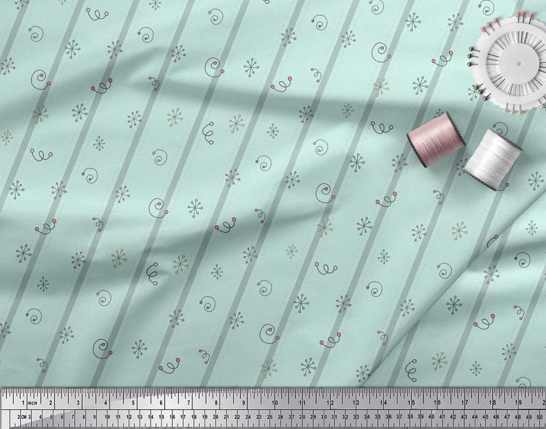 Soimoi-Green-Cotton-Poplin-Fabric-Stripe-amp-Square-Geometric-Decor-5Yx thumbnail 3