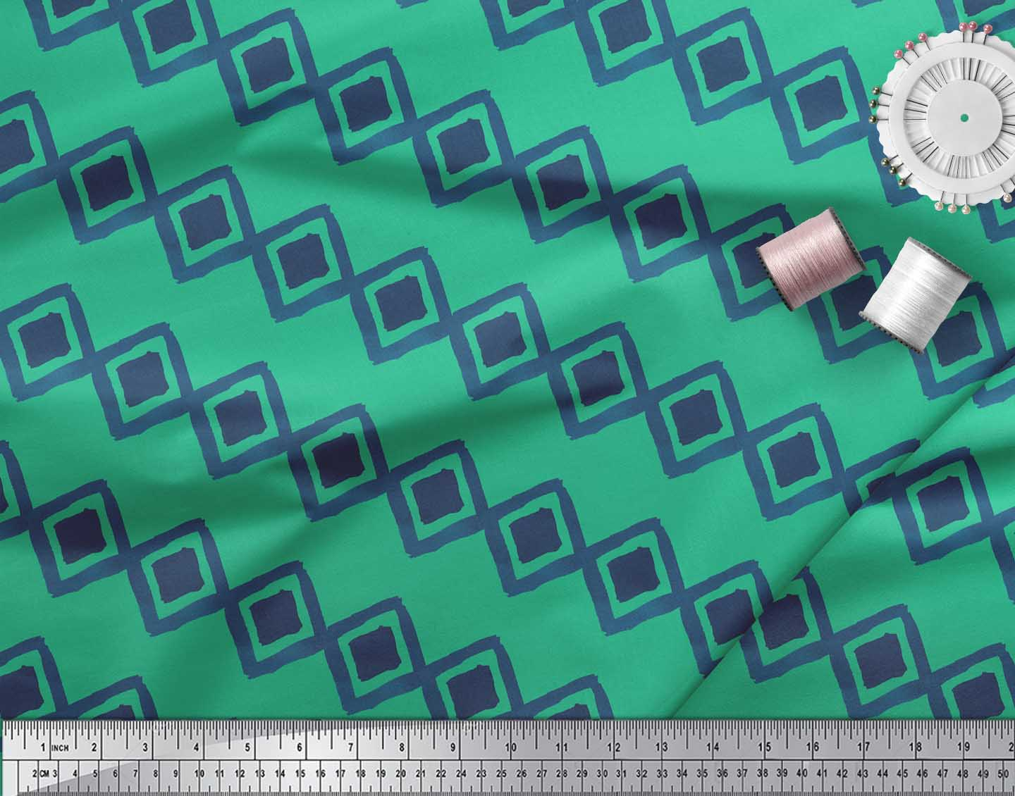 Soimoi-Green-Cotton-Poplin-Fabric-Diamond-amp-Chevron-Geometric-Print-4Xq thumbnail 3