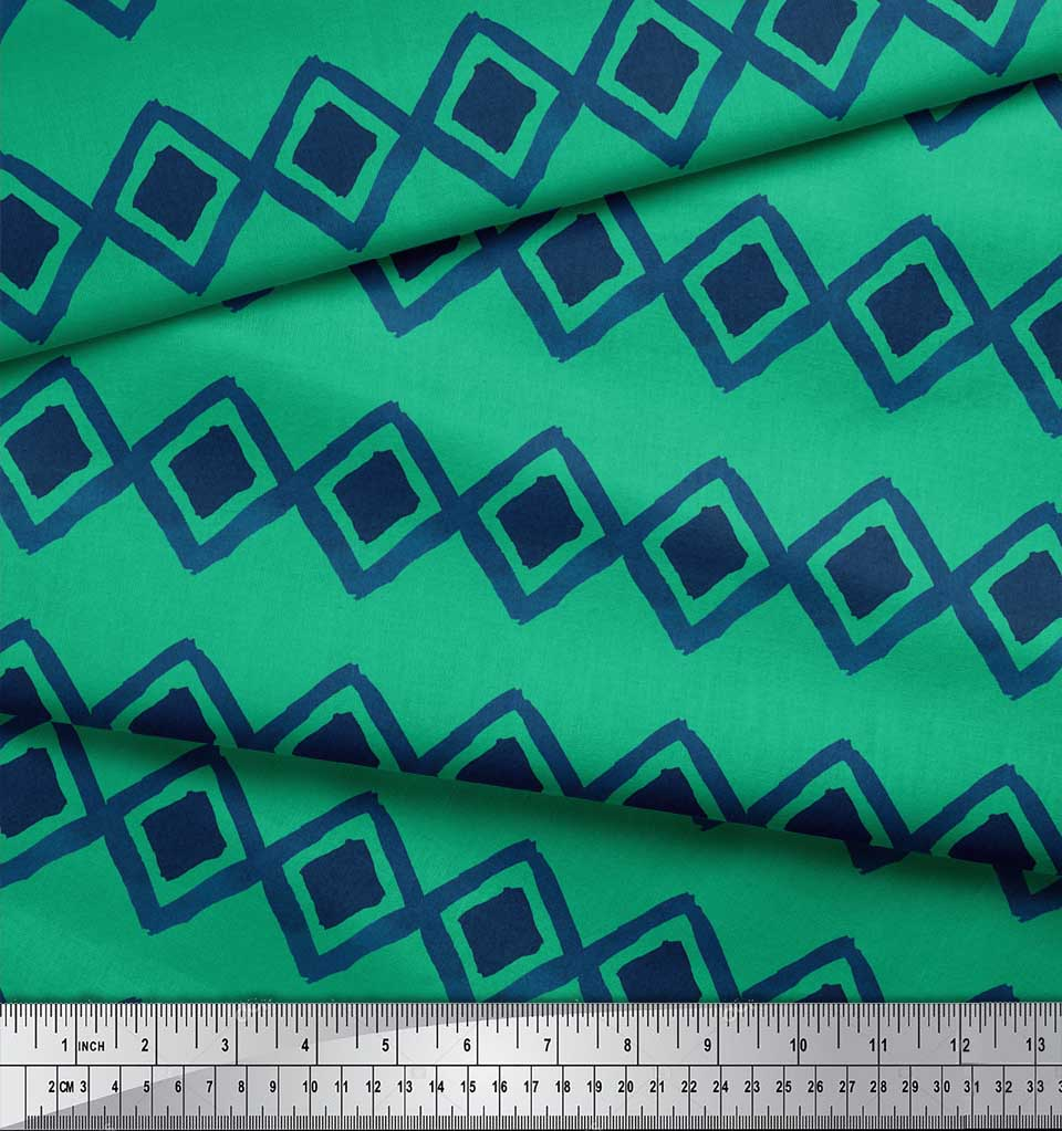Soimoi-Green-Cotton-Poplin-Fabric-Diamond-amp-Chevron-Geometric-Print-4Xq thumbnail 4