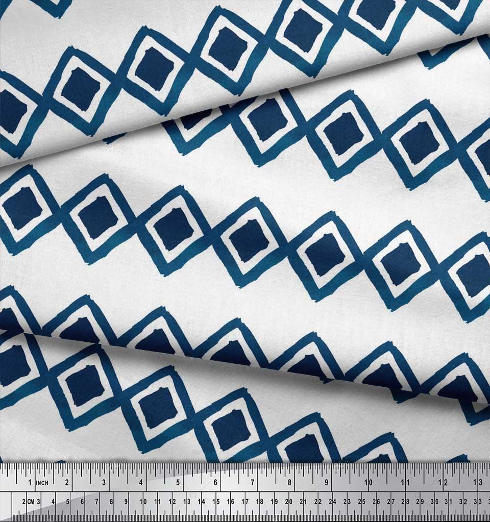 Soimoi-White-Cotton-Poplin-Fabric-Diamond-amp-Chevron-Geometric-Print-AUc thumbnail 3