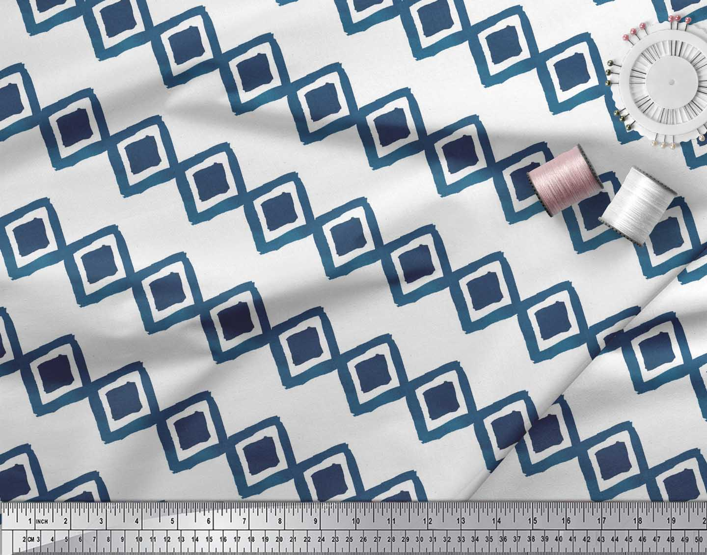 Soimoi-White-Cotton-Poplin-Fabric-Diamond-amp-Chevron-Geometric-Print-AUc thumbnail 4