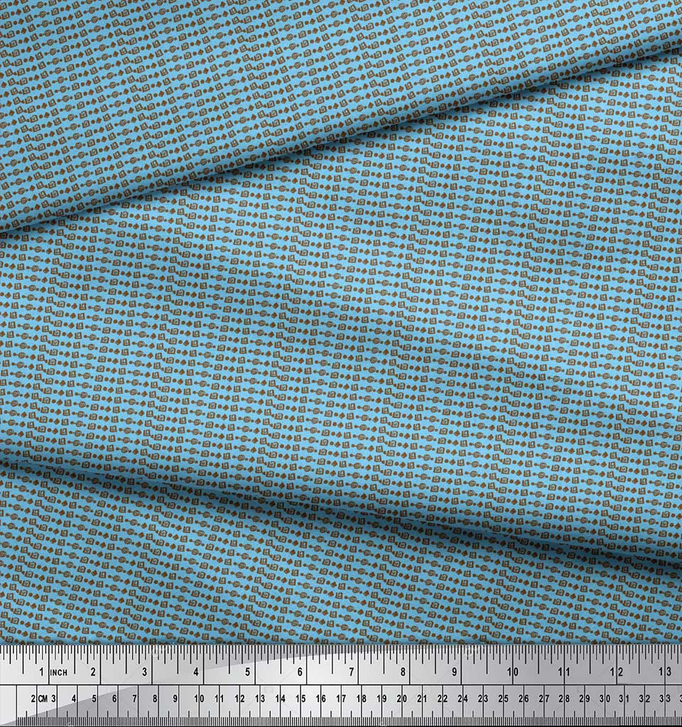 Soimoi-Blue-Cotton-Poplin-Fabric-Aztec-Geometric-Print-Fabric-by-y9h thumbnail 4