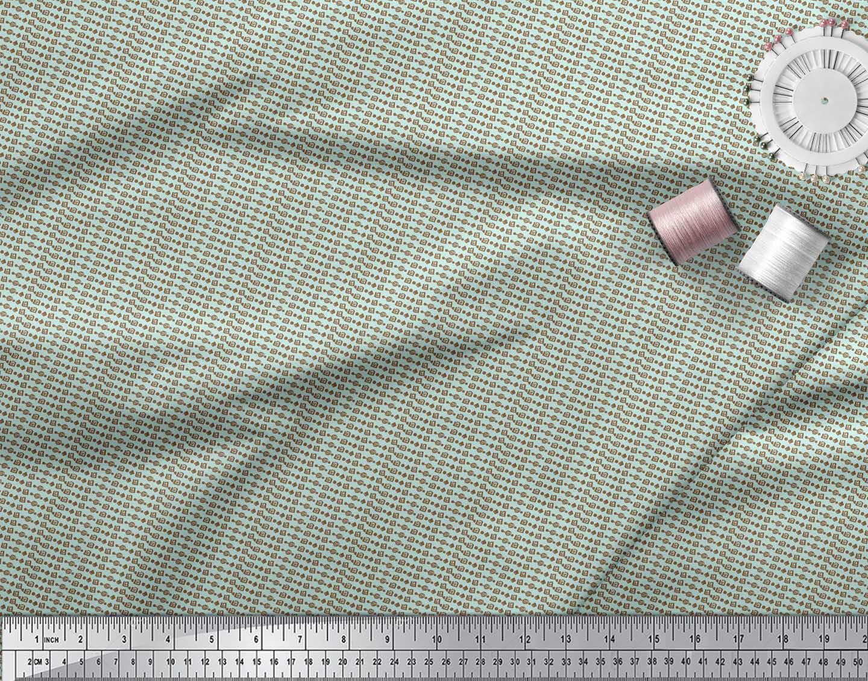 Soimoi-Green-Cotton-Poplin-Fabric-Aztec-Geometric-Print-Sewing-Fabric-wKm thumbnail 3