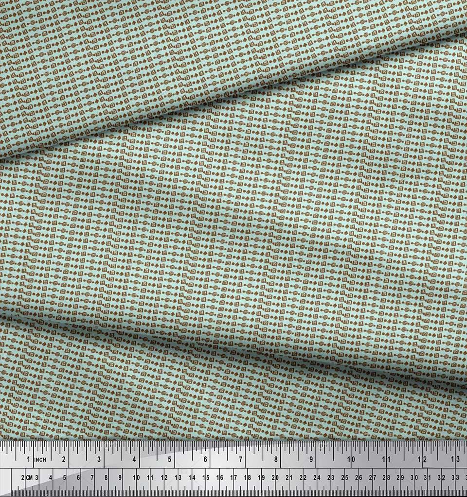 Soimoi-Green-Cotton-Poplin-Fabric-Aztec-Geometric-Print-Sewing-Fabric-wKm thumbnail 4