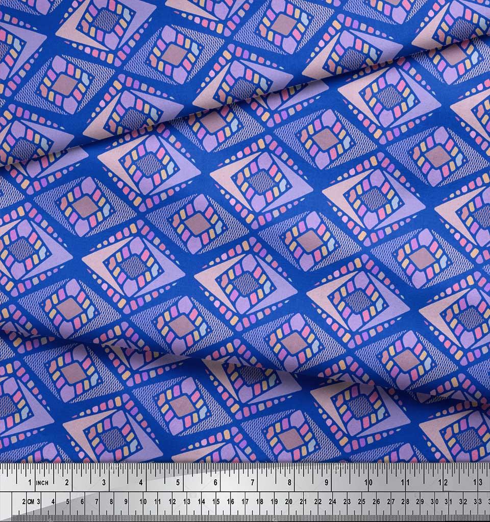 Soimoi-Blue-Cotton-Poplin-Fabric-Diamond-Geometric-Decor-Fabric-2oD thumbnail 3