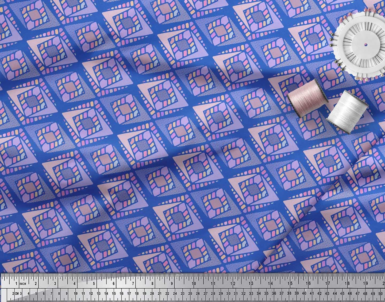 Soimoi-Blue-Cotton-Poplin-Fabric-Diamond-Geometric-Decor-Fabric-2oD thumbnail 4