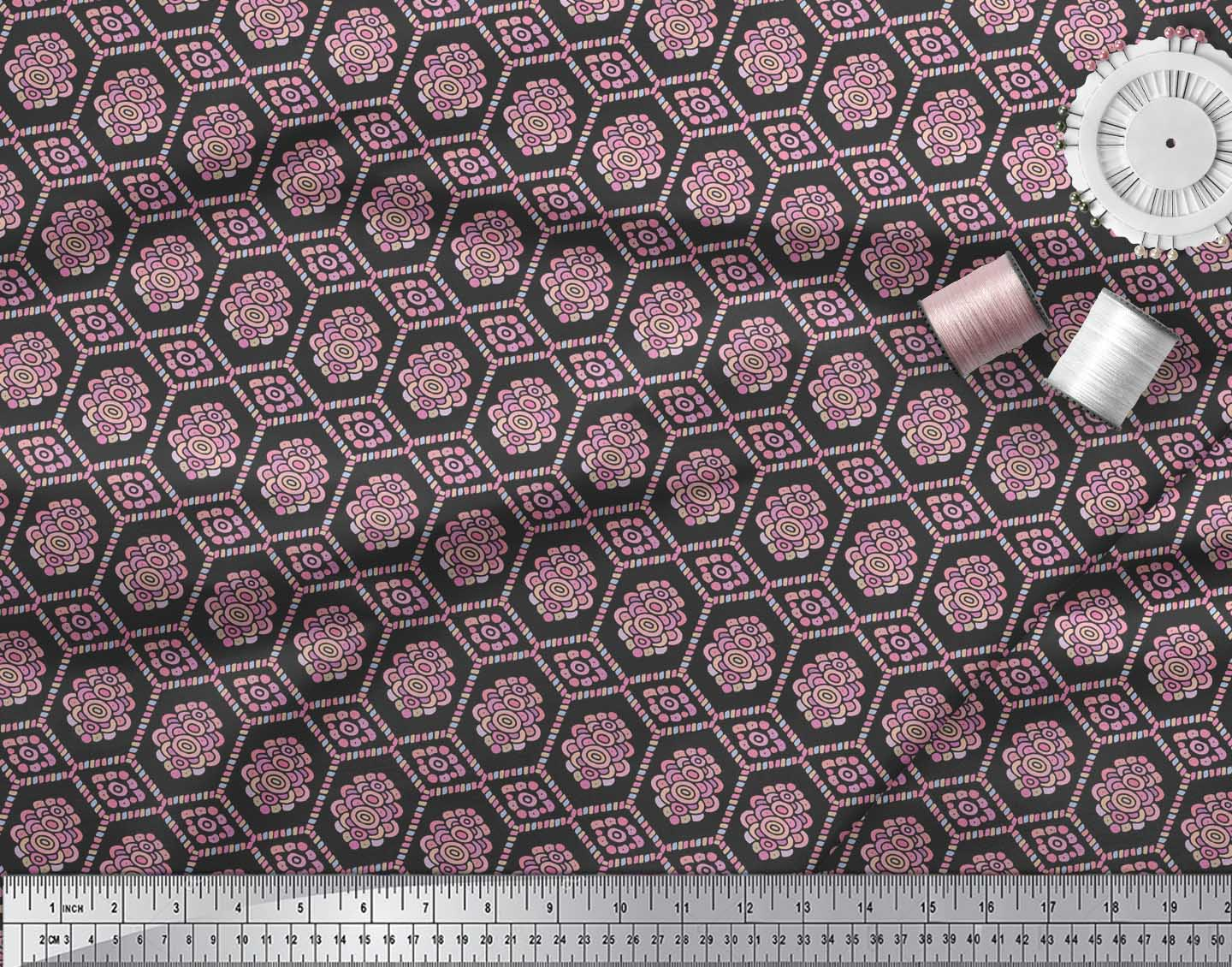 Soimoi-Black-Cotton-Poplin-Fabric-Artistic-Geometric-Print-Fabric-EQ7 thumbnail 3