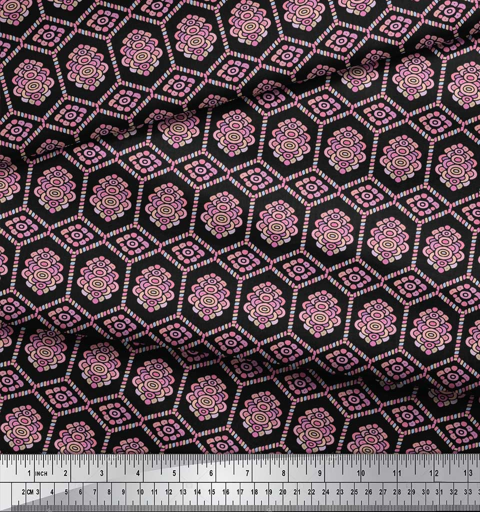 Soimoi-Black-Cotton-Poplin-Fabric-Artistic-Geometric-Print-Fabric-EQ7 thumbnail 4
