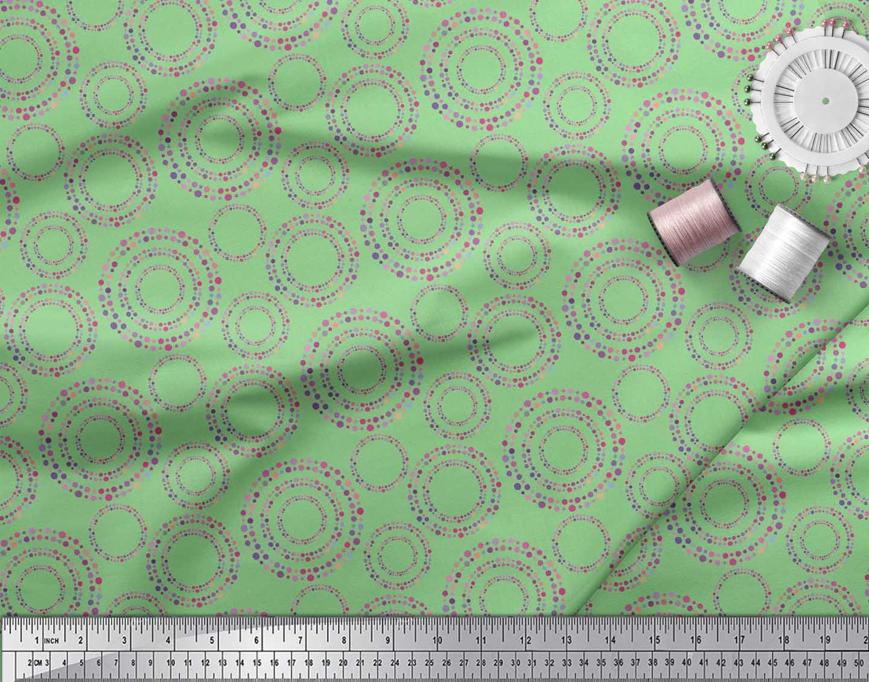 Soimoi-Green-Cotton-Poplin-Fabric-Dots-amp-Circle-Geometric-Print-Wsm thumbnail 3