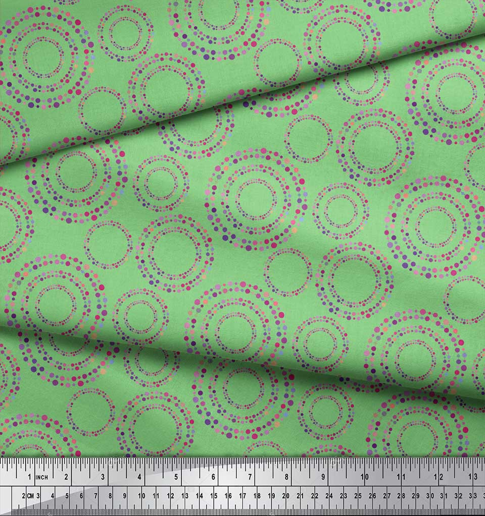 Soimoi-Green-Cotton-Poplin-Fabric-Dots-amp-Circle-Geometric-Print-Wsm thumbnail 4