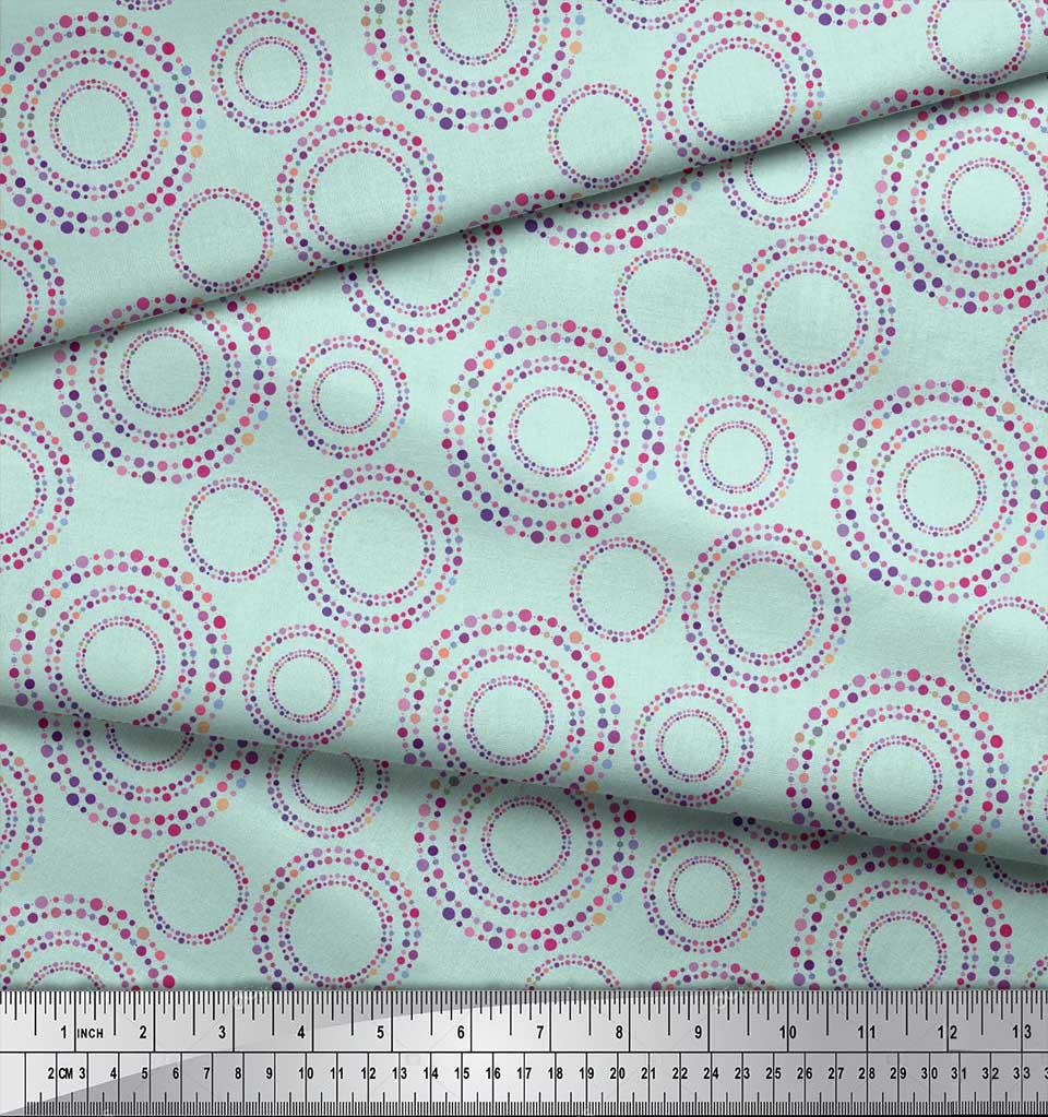 Soimoi-Green-Cotton-Poplin-Fabric-Dots-amp-Circle-Geometric-Printed-myE thumbnail 3