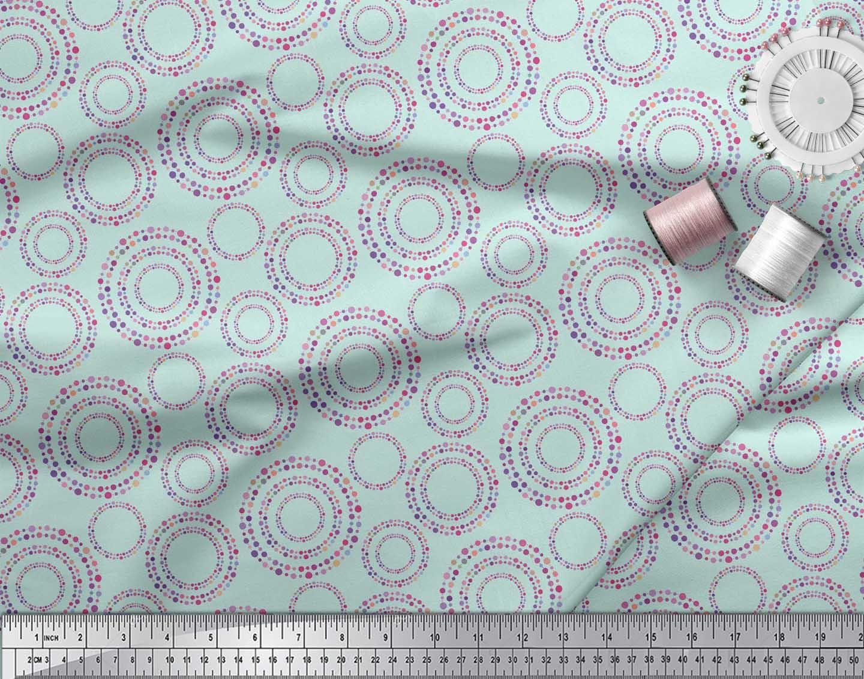 Soimoi-Green-Cotton-Poplin-Fabric-Dots-amp-Circle-Geometric-Printed-myE thumbnail 4