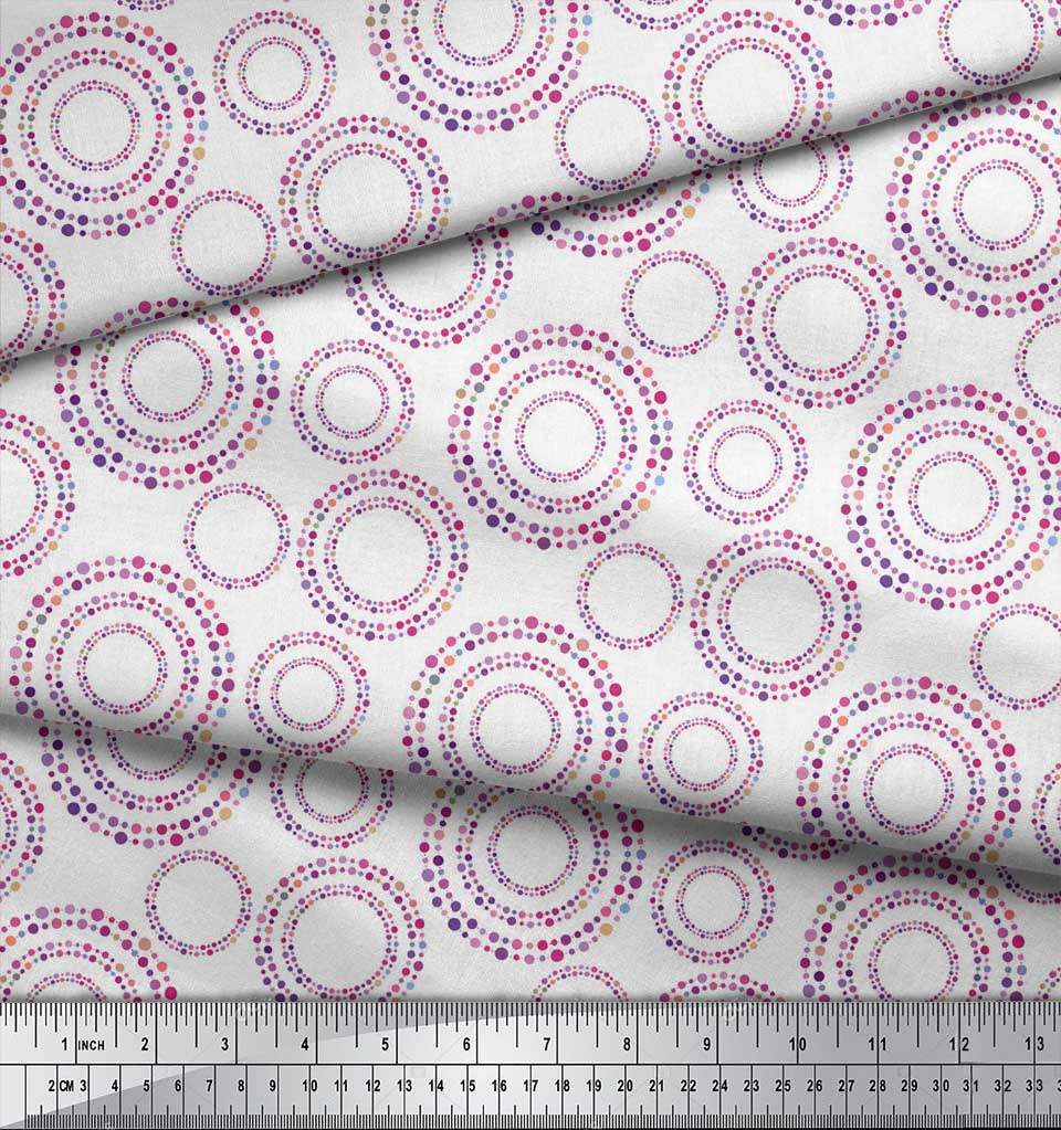 Soimoi-White-Cotton-Poplin-Fabric-Dots-amp-Circle-Geometric-Fabric-wOy thumbnail 3