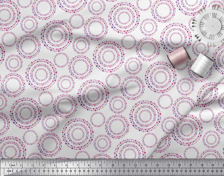Soimoi-White-Cotton-Poplin-Fabric-Dots-amp-Circle-Geometric-Fabric-wOy thumbnail 4