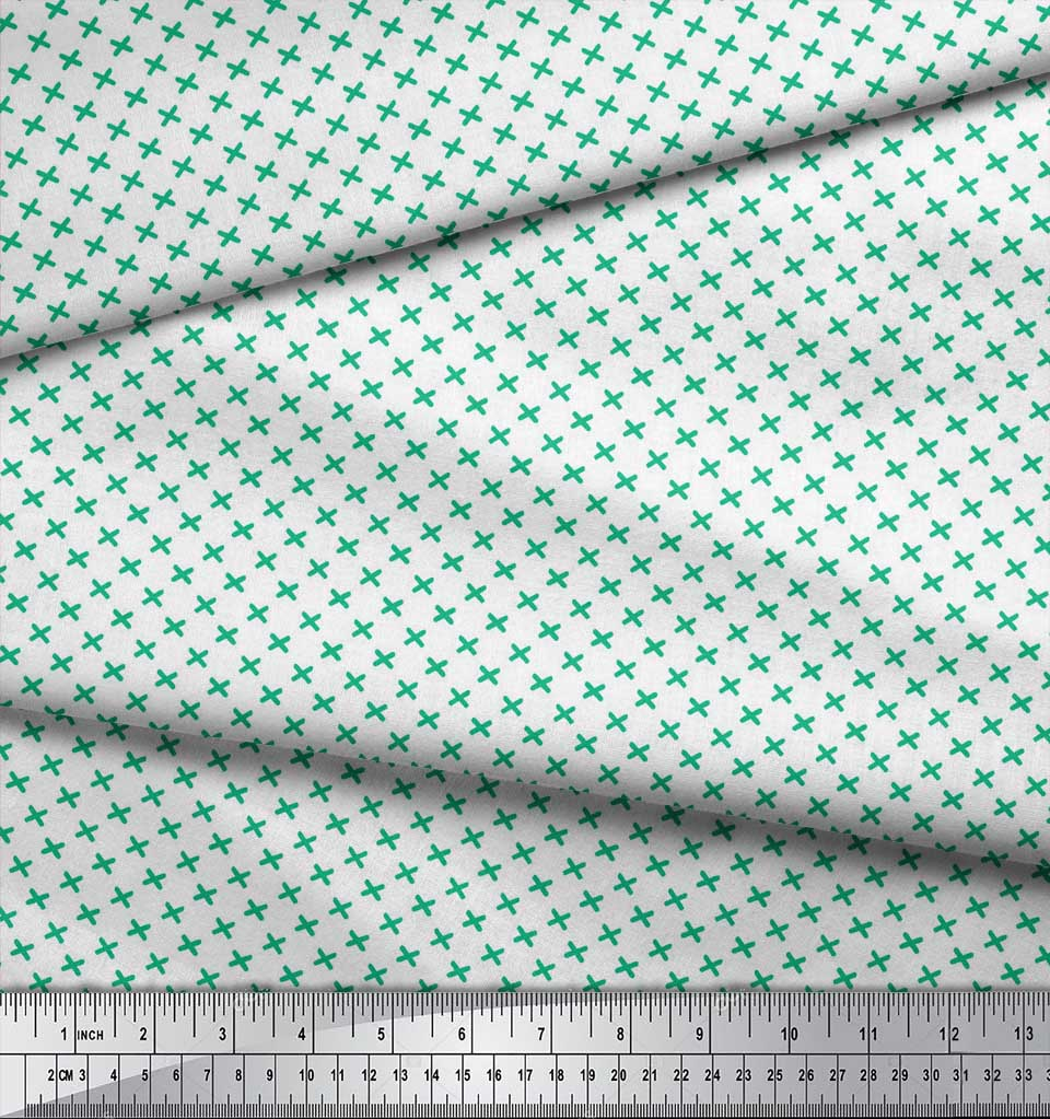 Soimoi-Green-Cotton-Poplin-Fabric-Cross-amp-Geometric-Print-Sewing-ctI thumbnail 3