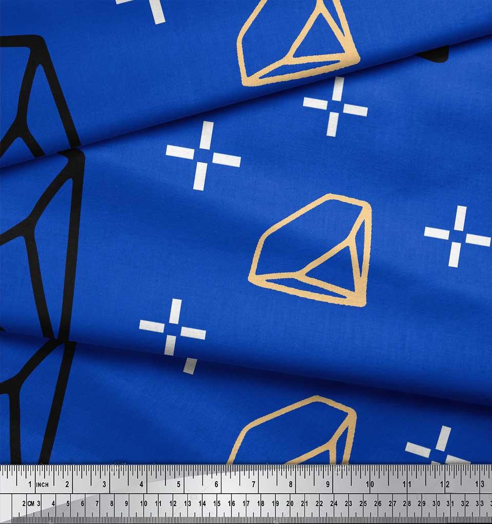 Soimoi-Blue-Cotton-Poplin-Fabric-Diamond-Geometric-Printed-Fabric-jMb thumbnail 3