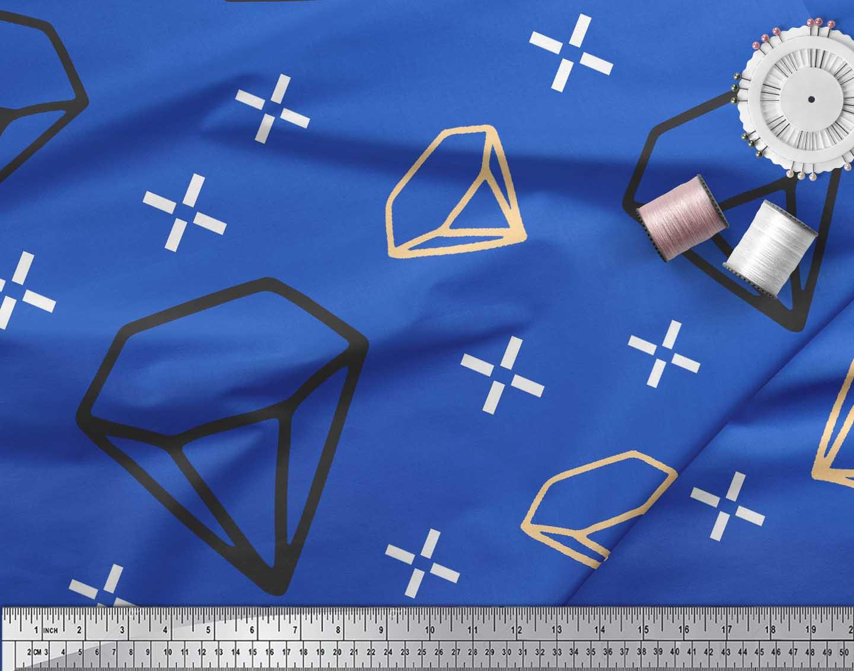 Soimoi-Blue-Cotton-Poplin-Fabric-Diamond-Geometric-Printed-Fabric-jMb thumbnail 4
