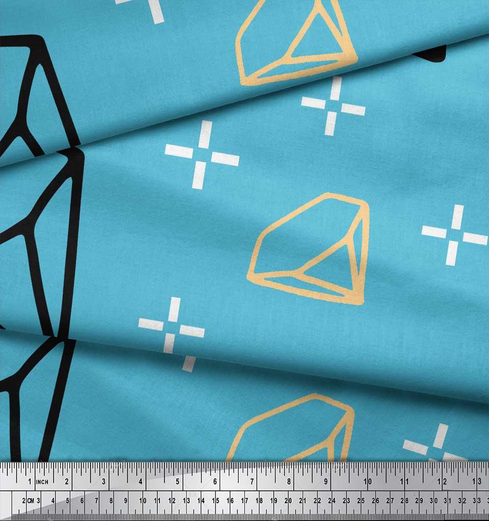 Soimoi-Blue-Cotton-Poplin-Fabric-Diamond-Geometric-Printed-Fabric-f7L thumbnail 3