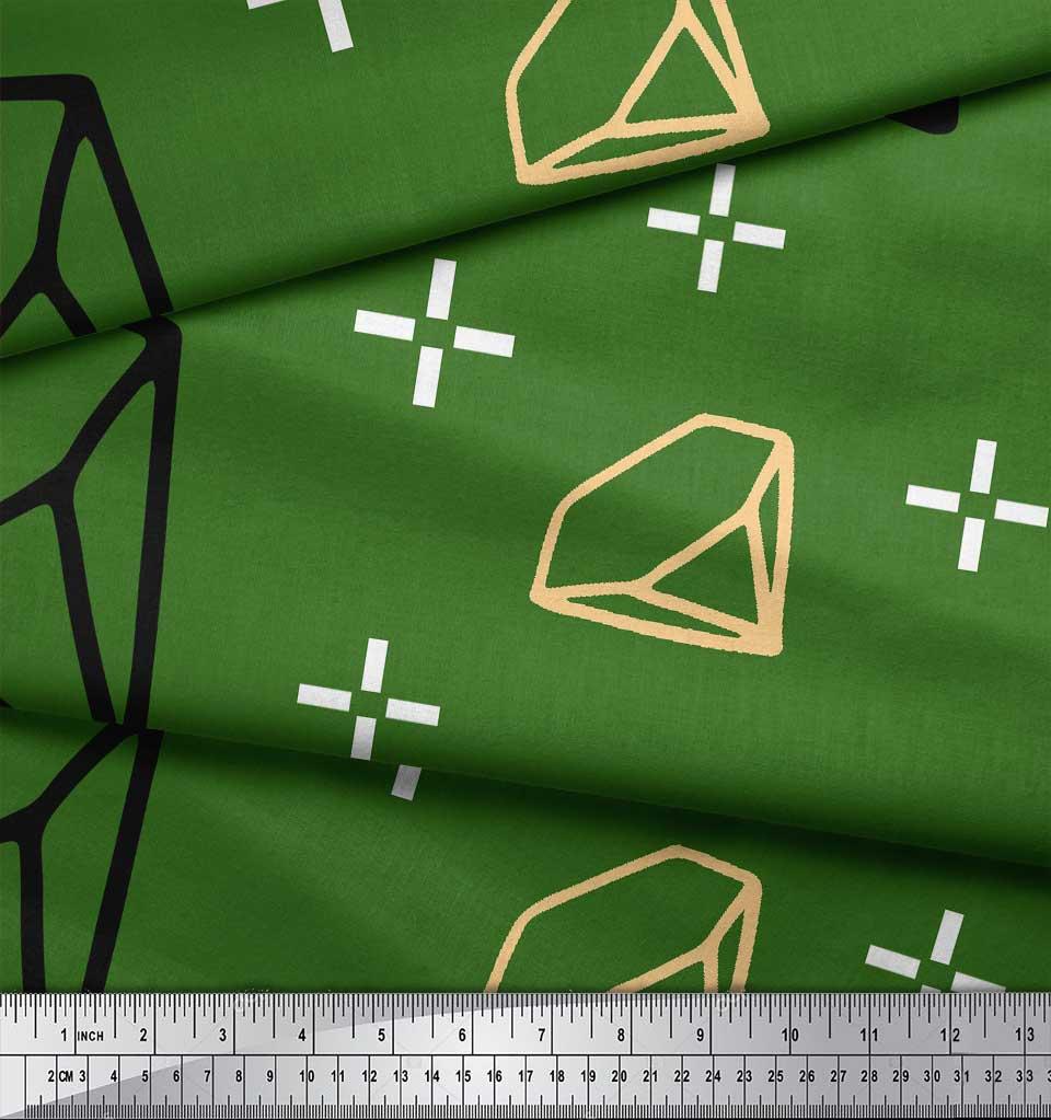 Soimoi-Green-Cotton-Poplin-Fabric-Diamond-Geometric-Decor-Fabric-3g1 thumbnail 3