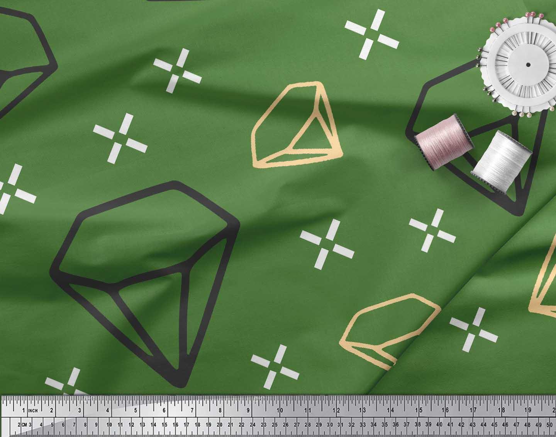 Soimoi-Green-Cotton-Poplin-Fabric-Diamond-Geometric-Decor-Fabric-3g1 thumbnail 4