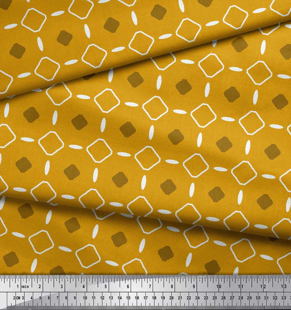 Soimoi-Gold-Cotton-Poplin-Fabric-Diamond-Geometric-Print-Fabric-aZU thumbnail 3