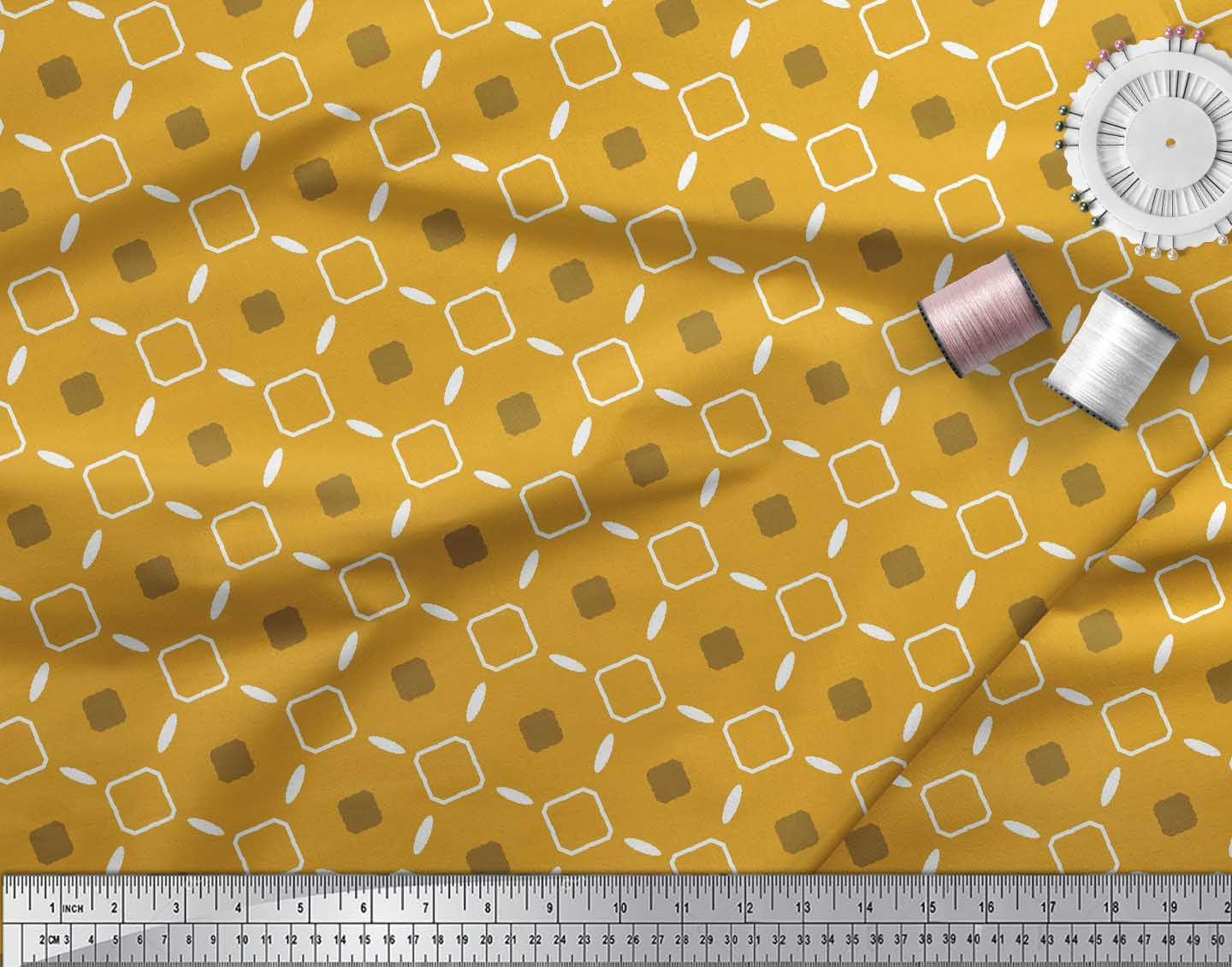 Soimoi-Gold-Cotton-Poplin-Fabric-Diamond-Geometric-Print-Fabric-aZU thumbnail 4