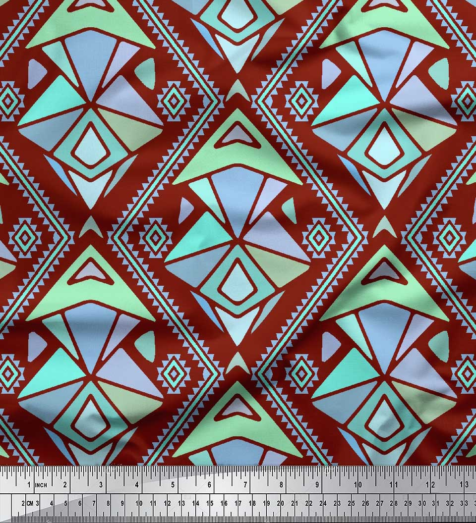 Soimoi-Red-Cotton-Poplin-Fabric-Diamond-amp-Triangle-Geometric-Print-2YW