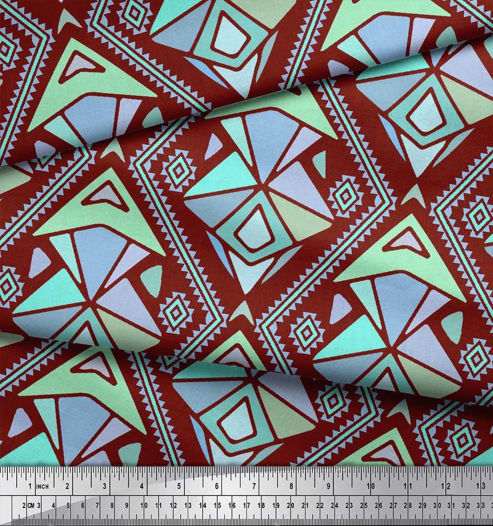 Soimoi-Red-Cotton-Poplin-Fabric-Diamond-amp-Triangle-Geometric-Print-2YW thumbnail 3
