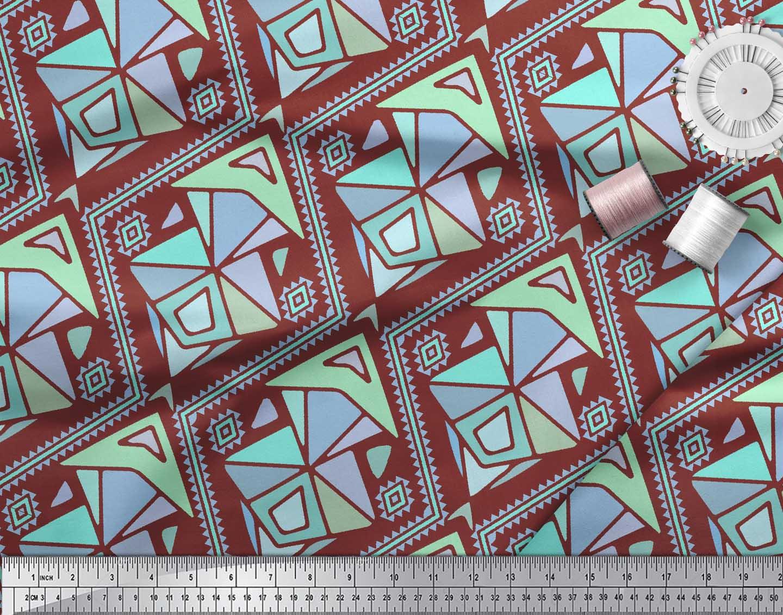 Soimoi-Red-Cotton-Poplin-Fabric-Diamond-amp-Triangle-Geometric-Print-2YW thumbnail 4